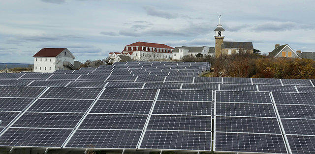 A solar array on Star Island in New Hampshire.