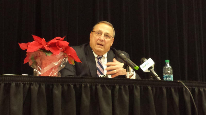 Paul LePage at a town hall-style meeting in Waterville in December.