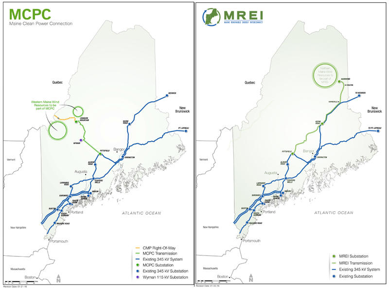 Emera Maine and Central Maine Power both have a stake in an Aroostook County proposal (right). Central Maine Power is also involved in a western Maine project (left).