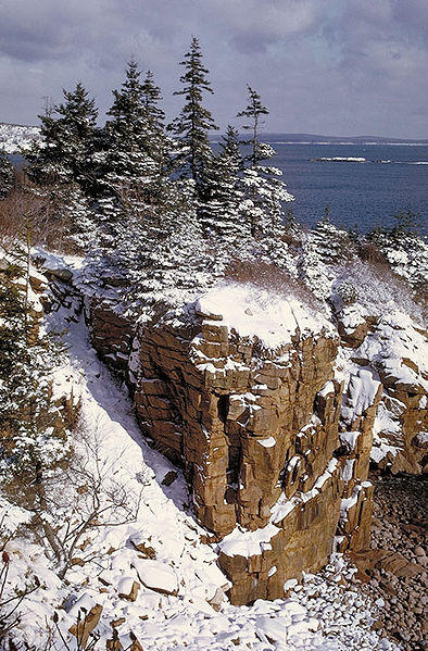 A winter scene at Acadia National Park.