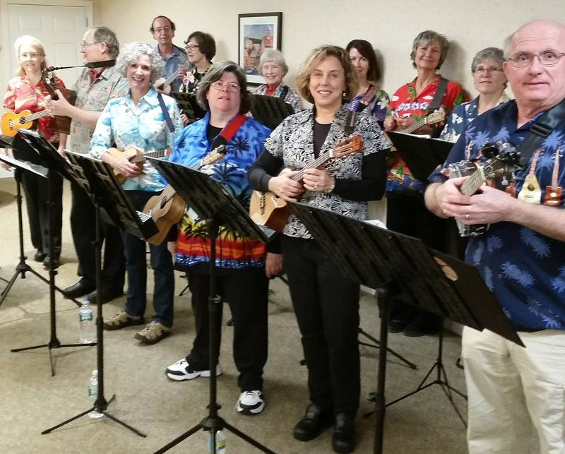 The Falmouth Library Ukulele Society performance in 2015.