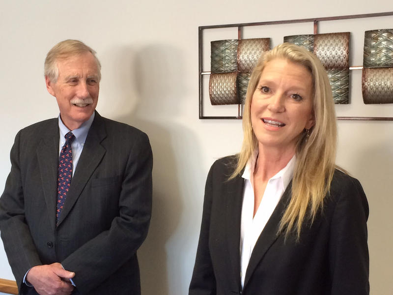 Angus King (left) and Heather Blease.