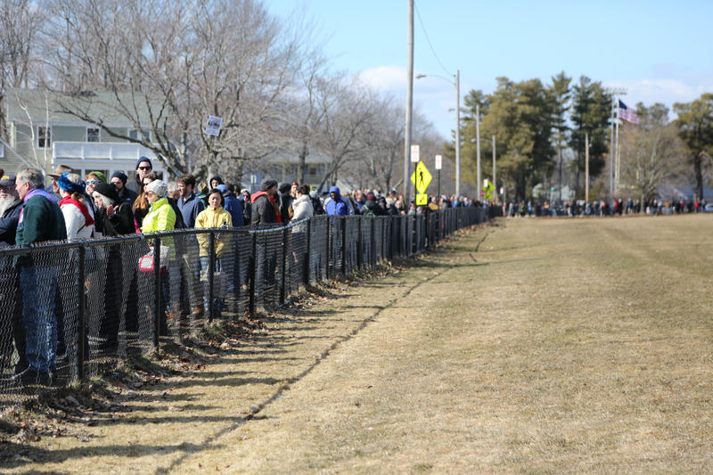 Thousands of Democratic voters line up outside Deering High School Sunday.