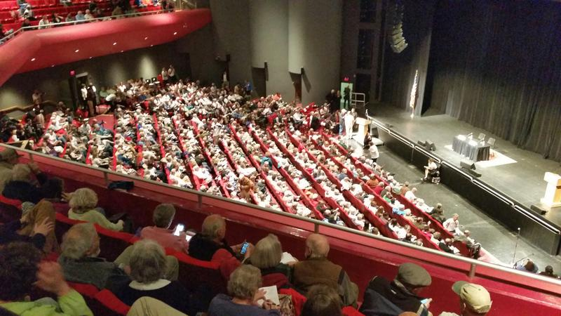 A crowd of more than 1,000 packs the Collins Center for the Arts at the University of Maine in Orono on Monday.