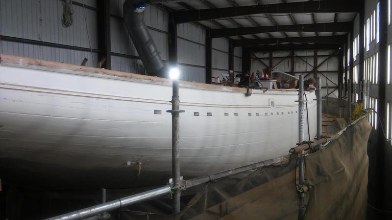 The Bowdoin in drydock at Lyman-Morse shipyard in Camden