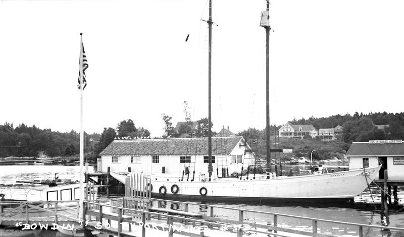 The Schooner Bowdoin tied up at Robinson's Wharf in Boothbay Harbor in the 1930s