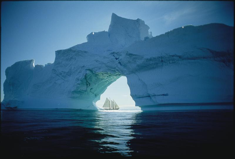 The Schooner Bowdoin framed by an ice floe above the arctic circle