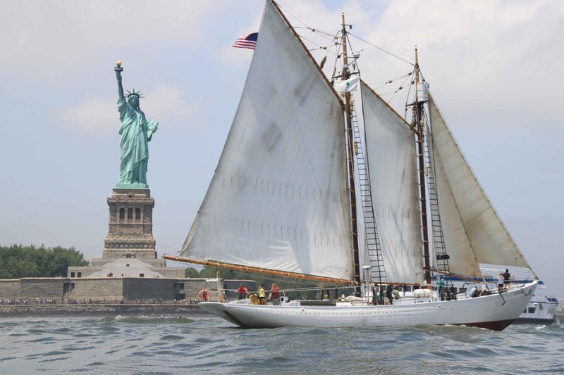 The Schooner Bowdoin passing Liberty Island in Upper New York Bay