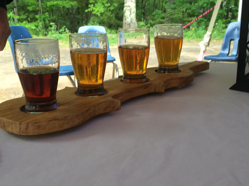 Beer samples at Funky Bow Brewery and Beer Co., in Lyman, Maine.