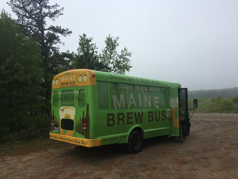 The Maine Brew Bus at the Kennebunk Plains after shuttling riders to the Birds on Tap tour.