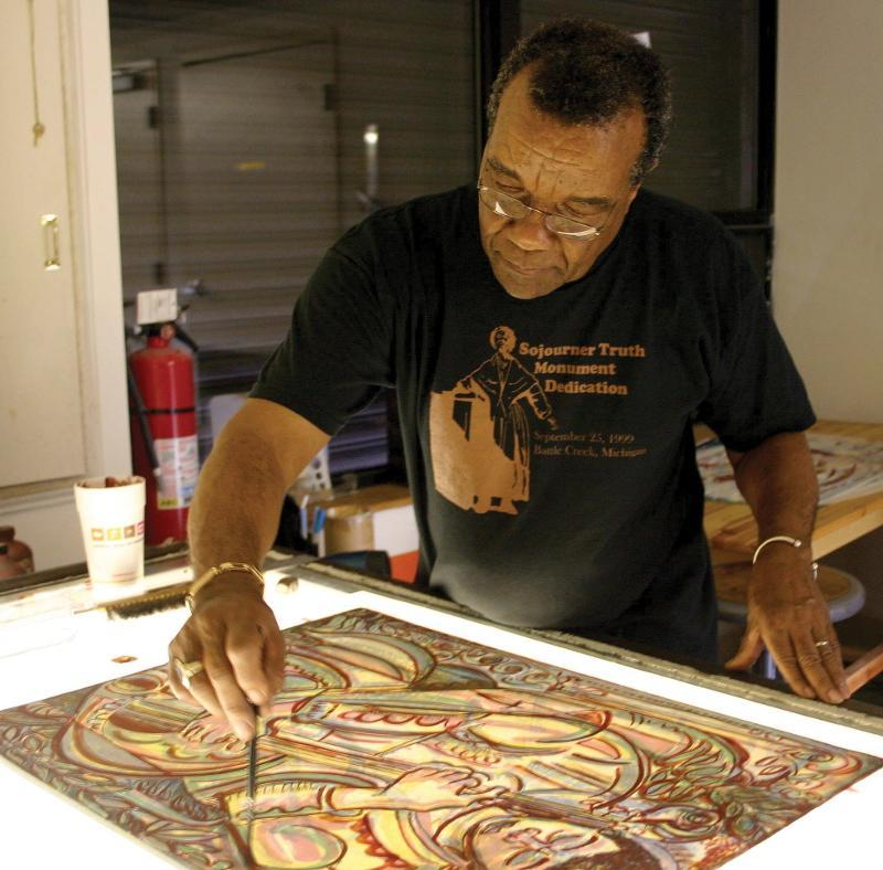 David Driskell in his studio