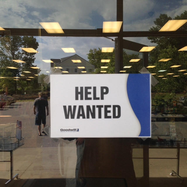 Hiring sign at Goodwill in Rockland.