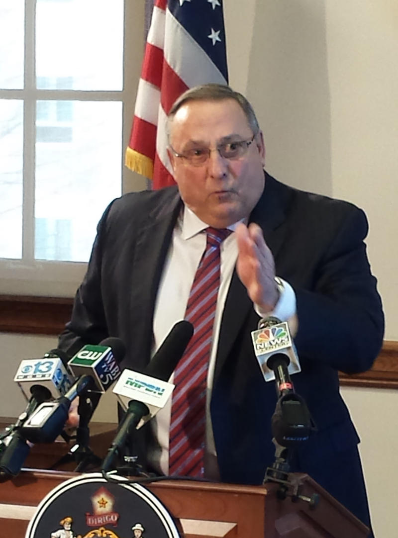 Maine Gov. Paul LePage speaks during a conference.