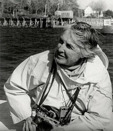 Olive Pierce in a boat off the Maine coast in 1995.