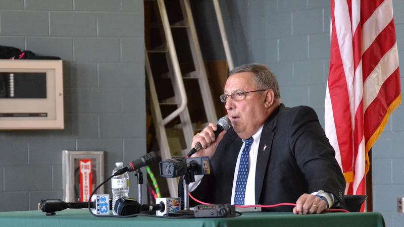 Gov. Paul LePage at a town hall meeting in South Paris in July.