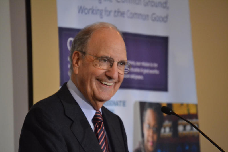 Former Maine Sen. George Mitchell speaks at a symposium in Waterville Thursday on civility in politics.