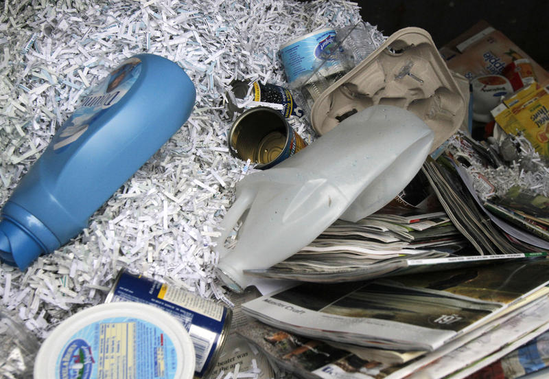 Contents of a recycling bin at the Casella Waste Systems depot in Vermont
