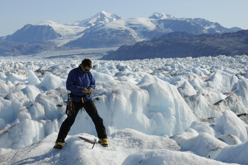 University of Maine professor Gordon Hamilton in Kangerdlugssuaq Glacier, East Greenland, in 2009.