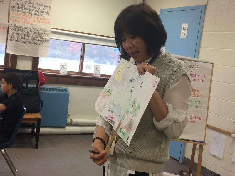 Sachiko Clough teaches Japanese to a classroom of elementary students at Marcia Buker High School in Richmond.