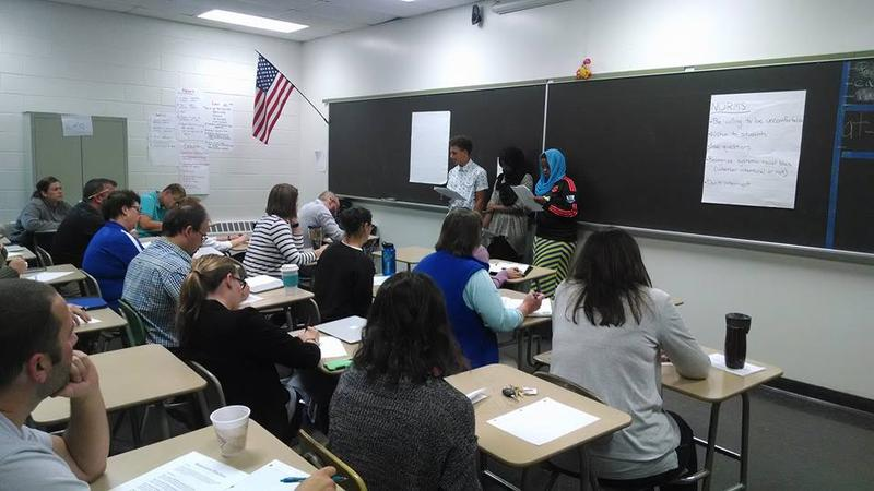 Students from Lewiston's 21st Century program lead a cultural competency training for the staff of Lewiston High School.