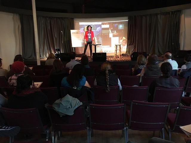 Rachel Weinstein Adulting school co-founder teaching a class in Portland.