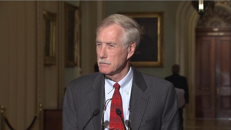 Sen. Angus King talks to reporters in Washington in 2012.