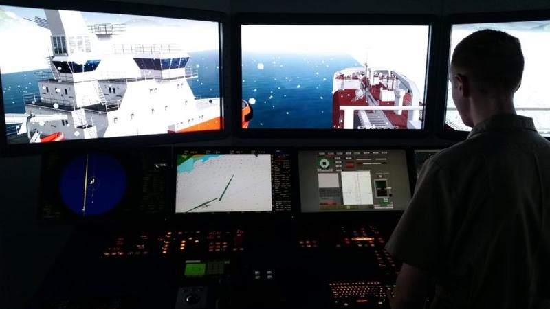 Glenn Burleigh practices piloting a tanker with a damaged rudder.
