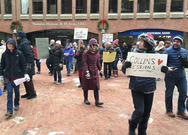 Maine Sessions opponents head to Collins' Portland headquarters Tuesday to protest Collins' support for the Alabama senator's nomination for U.S. attorney general.