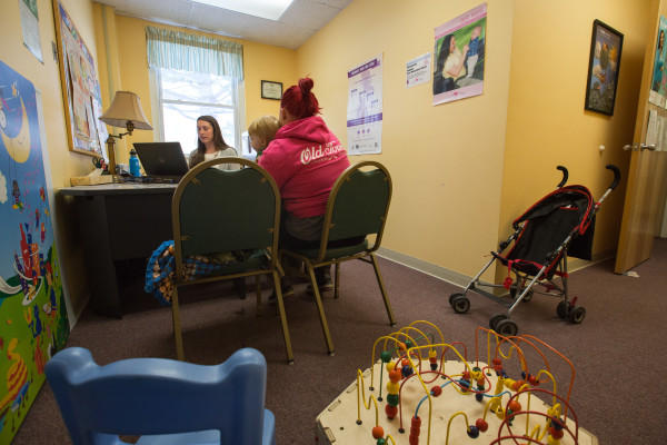 A WIC Recipient And Her Son Sit For An Appointment At Bangor Public Health Community Services On Jan 12