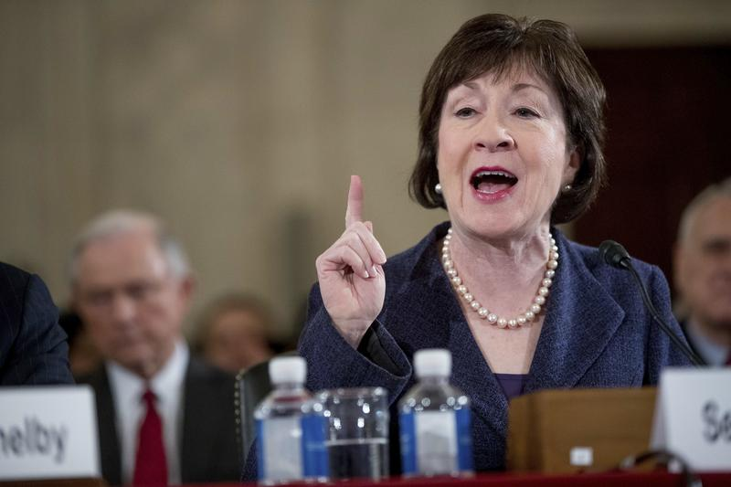 Susan Collins introduces Jeff Sessions at his confirmation hearing before the Senate Judiciary Committee in January.
