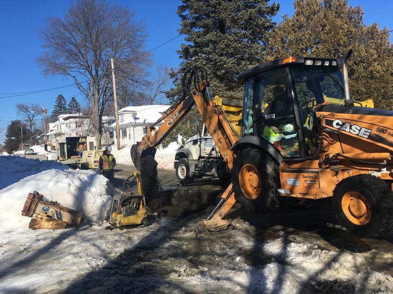 Portland Water District workers finish up repairs to a main in South Portland.