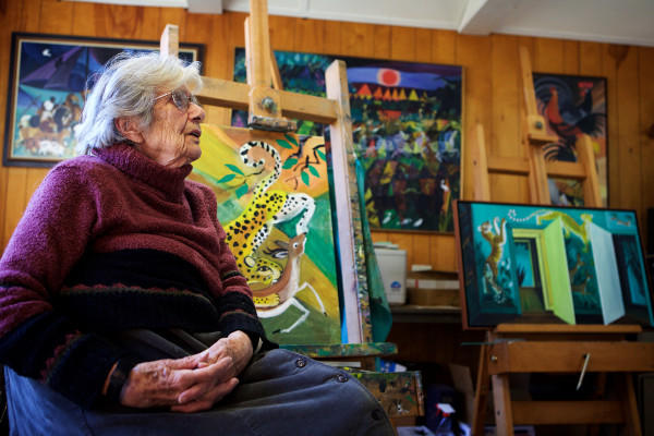 Dahlov Ipcar sits in the studio attached to her home Nov. 9, 2015, in Georgetown, Maine.
