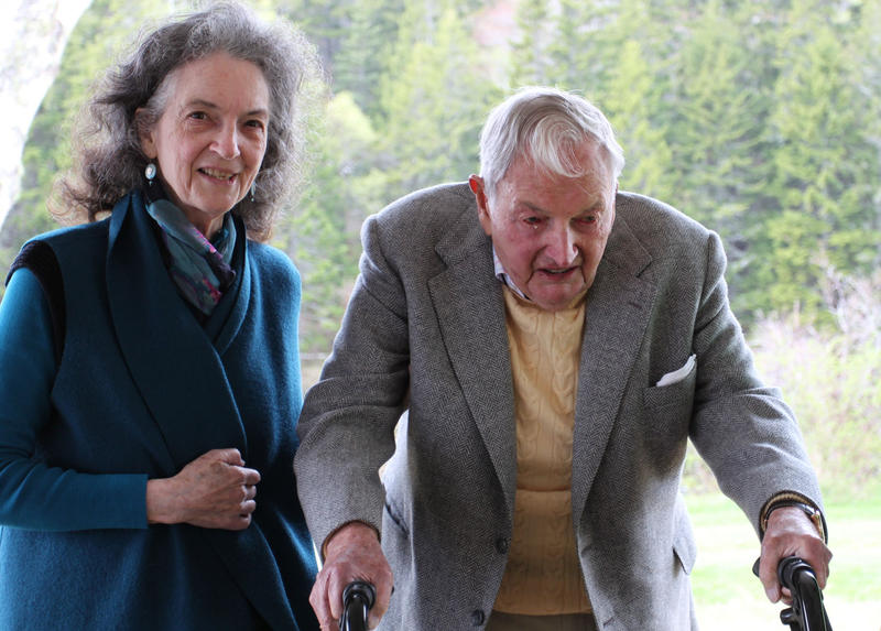 Philanthropist David Rockefeller and his daughter, Neva Goodwin, celebrate Rockfeller's gift of 1,000 acres of land abutting Acadia National Park at an event in May 2015.
