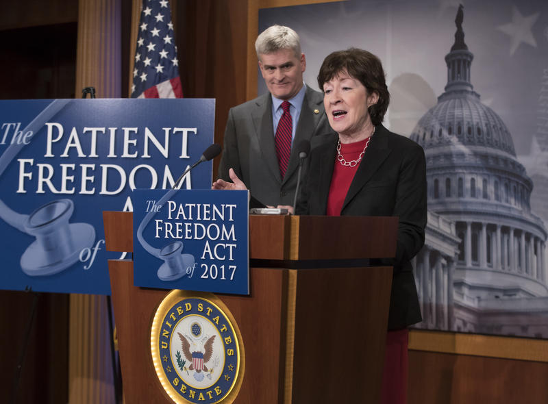 Maine U.S. Sen. Susan Collins joins with Louisiana Republican Sen. Bill Cassidy at a Washington news conference in January to unveil their version of a replacement for Obamacare.