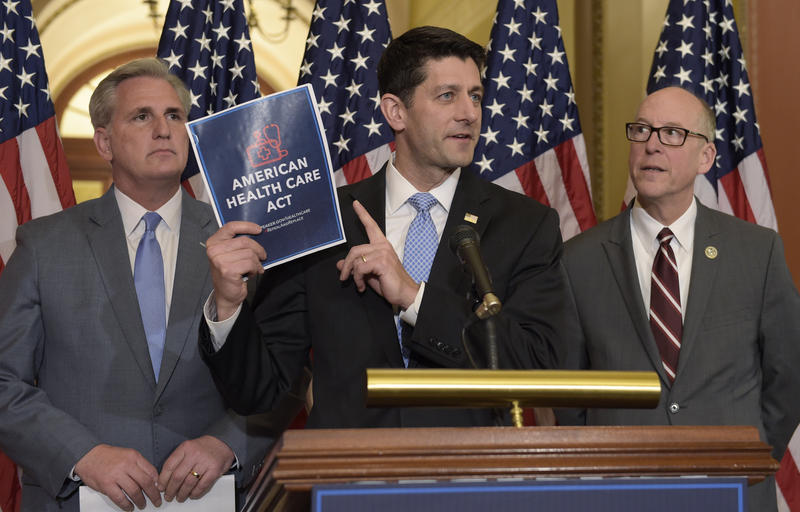 House Speaker Paul Ryan of Wis., (m.), with Greg Walden, R-Ore., (r.), and House Majority Whip Kevin McCarthy, R-Calif., (l), during a news conference on the American Health Care Act on Capitol Hill in Washington, Tuesday, March 7, 2017.