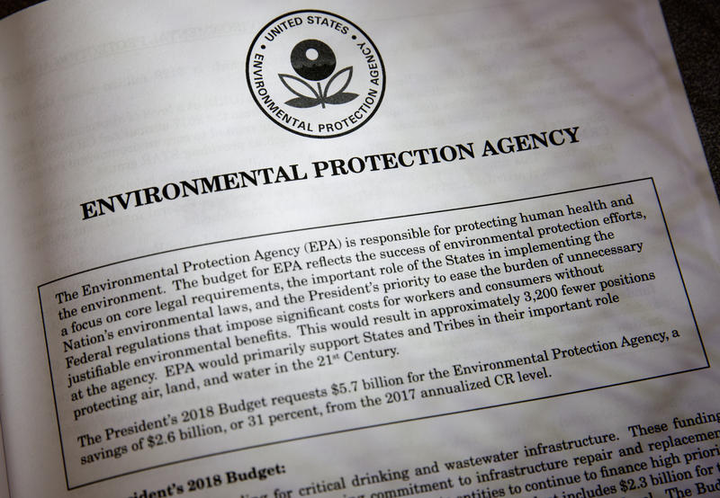 Proposals for the Environmental Protection Agency in President Donald Trump's first budget are displayed at the Government Printing Office in Washington on Thursday.