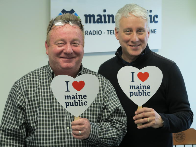 "Marketplace's David Brancaccio and Maine Public News Director Keith Shortall share an ""I LOVE Maine Public"" moment in our Portland Studio."