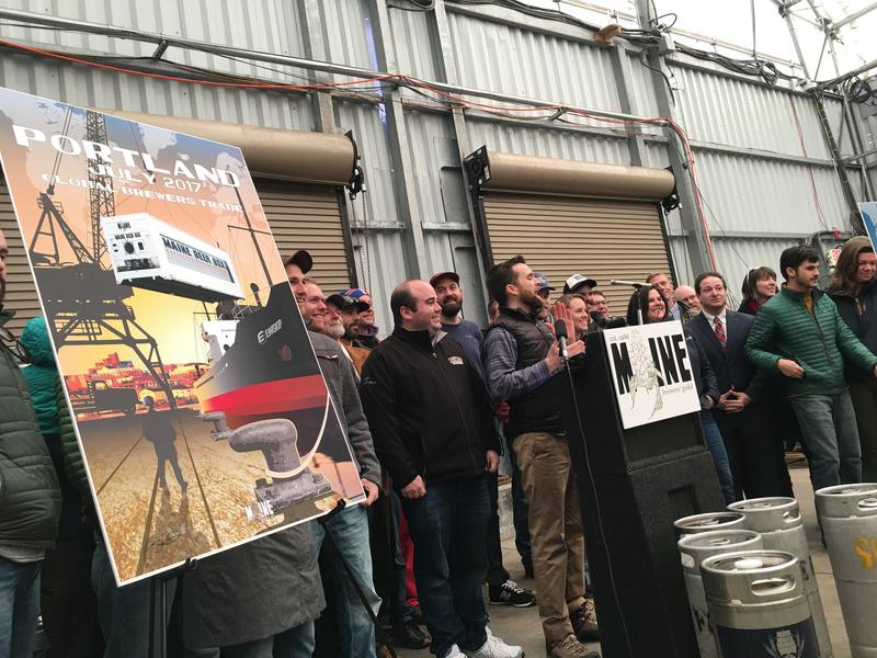 Craft beer makers celebrate plans to ship a 50-tap container to Iceland later this year at an Eimskip warehouse in Portland Thursday.