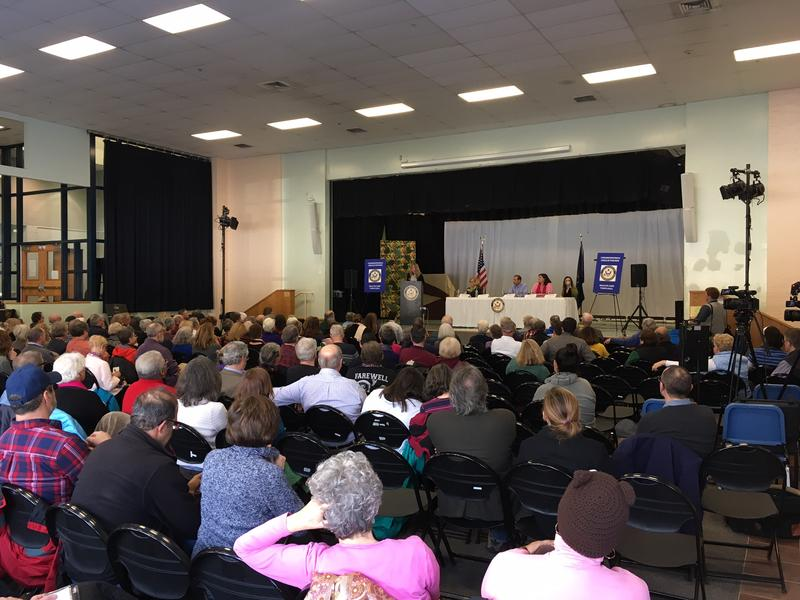 Hundreds pack a town hall in Portland Sunday, organized by Maine's 1st District Rep. Chellie Pingree.