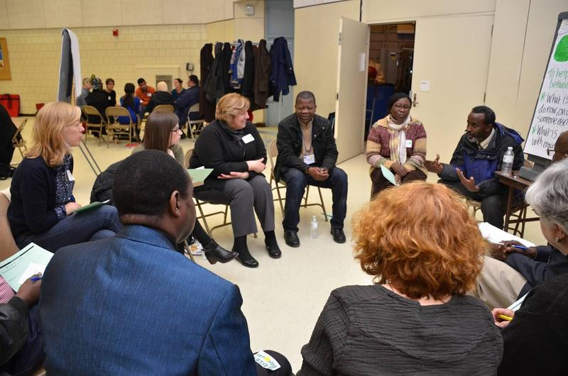 """Parents and Educators gather at a """"shared space cafe"""" hosted at Portland's Riverton Elementary School."""