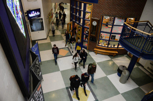 Camden Hills Regional High School Students File Through The Lobby After  Being Dismissed From School Friday Afternoon.