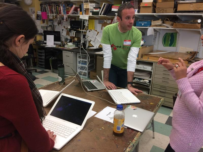 Teachers learn new technology techniques at the EdCamp Maine event at Portland's Waynflete school.