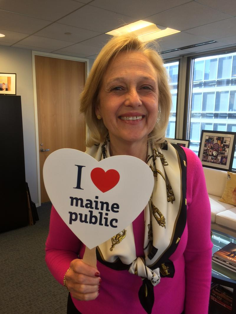 PBS President Paula Kerger joins the fun and shows her LOVE for public broadcasting in Maine!