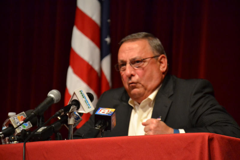 Gov. Paul LePage defends his racially-charged remarks about drug dealers at a town hall meeting in North Berwick in August, 2016.