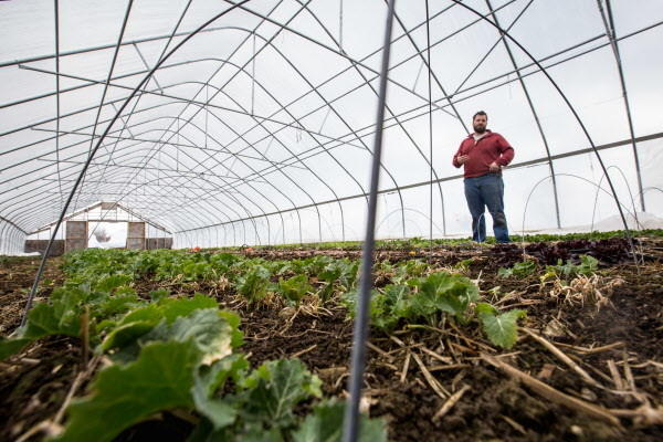 Mike Bahner inside one of his hoop houses on a late winter day at Bahner Farm in Belmont.