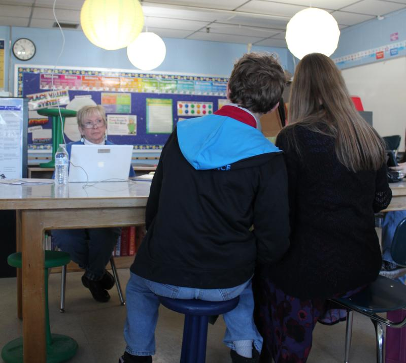 "A student fidgets on a ""wobble stool"" inside Susan Chase's classroom at the Piscataquis Community Secondary School in Guilford."