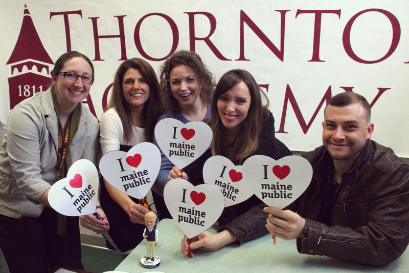 Members of Thornton Academy's Enrollment Team LOVE Maine Public! (L to R): Emma Deans, Linda Verville, Brittany Brown, Abigail Swardlick Gagnon, and Edwin Nùñez.