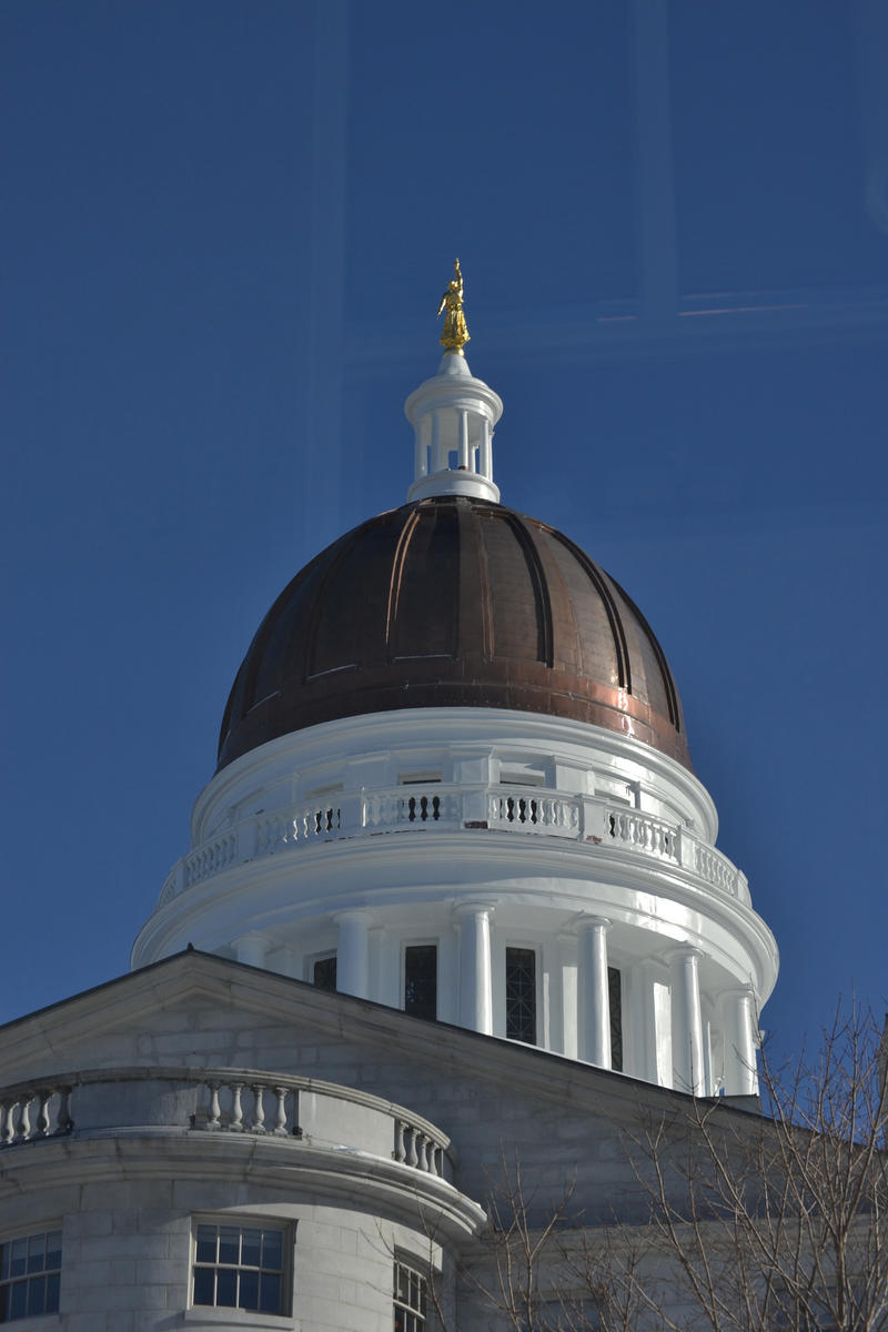 A view of the Maine State House dome in 2015.