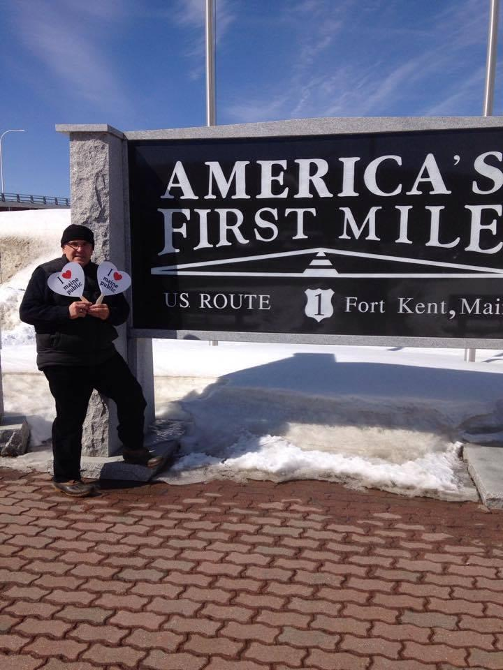 Member Paul Berube loves Maine Public at the Northern Most Point of the famous US Route 1 in Fort Kent!