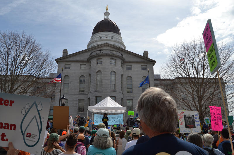 Ralliers at the State House in Augusta Saturday.